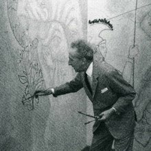 Jean Cocteau, said to have been Grand Master of the Priory of Sion, seen here putting the finishing touches to his strange mural in London's Notre-Dame de France