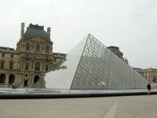 Mitterrand's new pyramid outside the Louvre Museum, Paris