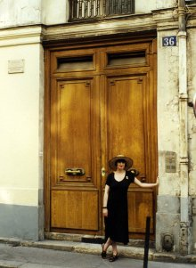 Lynn outside Jean Cocteau's house in Paris during research for The Templar Revelation in July 1994